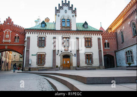 Czartoryski Museum and Art Gallery in Krakow Old Town, Poland. Beautiful neo-gothic building viewed from shaded courtyard - Stock Photo