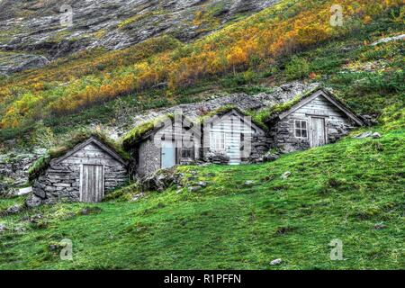 Old shepherd's hut in Norangdal's valley, Norway - Stock Photo