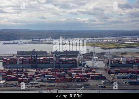 helicopter aerial view of GCT Bayonne container terminal, Bayonne, Jersey City, New Jersey, USA - Stock Photo