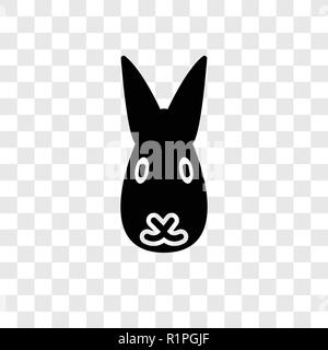 Rabbit vector icon isolated on transparent background, Rabbit transparency logo concept - Stock Photo
