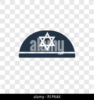 Kippah vector icon isolated on transparent background, Kippah transparency logo concept - Stock Photo