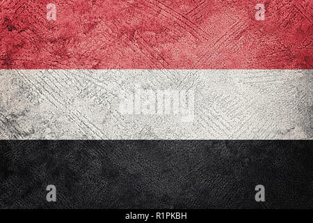 Grunge Yemen flag. Yemen flag with grunge texture. - Stock Photo