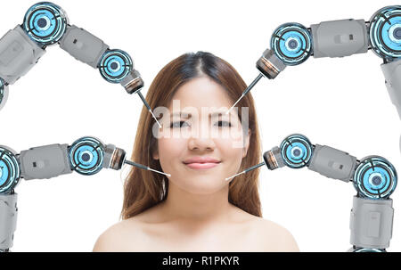 Beauty technology concept with 3d rendering robot arms on woman face - Stock Photo
