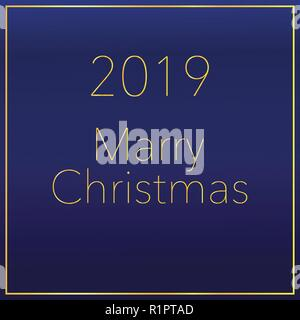 Happy New Year 2019 text design. Vector greeting illustration with golden numbers - Stock Photo