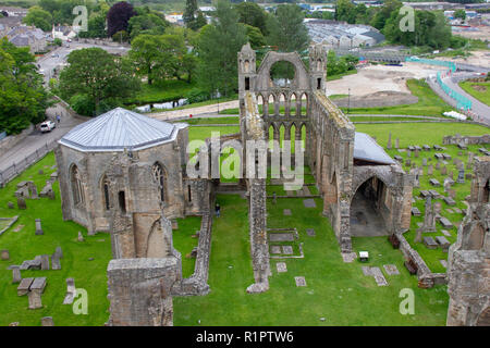 Elgin/Scotland June 15th 2012: Elgin Abbey ruins view from above - Stock Photo