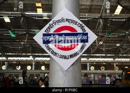 Signboard in Chhatrapati Shivaji Maharaj Terminus (CSMT) in Mumbai, India, formerly Chhatrapati Shivaji Terminus, the city's busiest railway station - Stock Photo