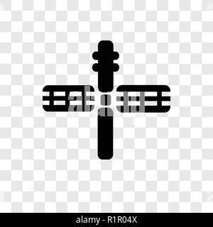 Space station vector icon isolated on transparent background, Space station transparency logo concept - Stock Photo