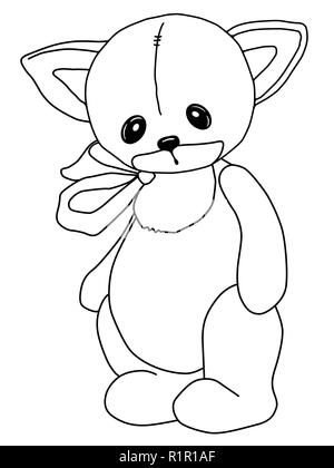 Black and white coloring. Teddy Cat. A toy. Drawn by hand. Black outline. Sad plush soft bear. Inc - Stock Photo