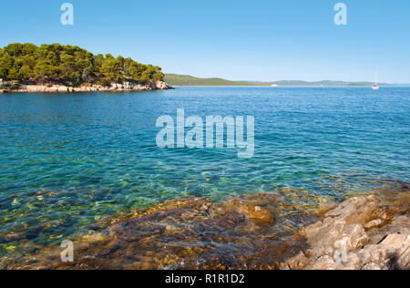 Transparent deep blue sea water and rocky coast with green forest, pine trees and hills on the back. Bozava, Croatia, summer - Stock Photo