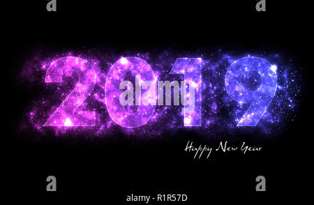 Happy New Year, 2019, pink and purple letters with glitter, stardust; black background - Stock Photo