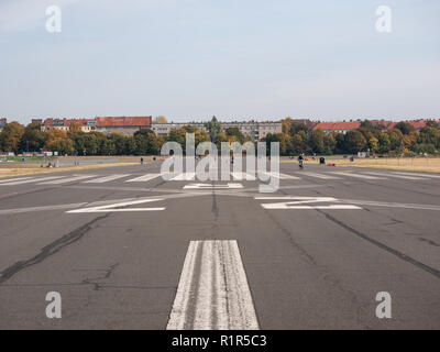 BERLIN, GERMANY - OCTOBER 10, 2018: Former Take-off Runway In Public City Park Tempelhofer Feld, Former Tempelhof Airport In Berlin, Germany - Stock Photo