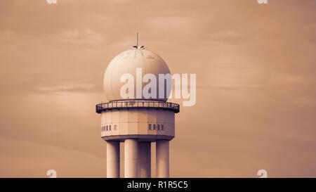 RRP 117 Radar Tower In Public City Park Tempelhofer Feld, Former Tempelhof Airport In Berlin, Germany - Stock Photo
