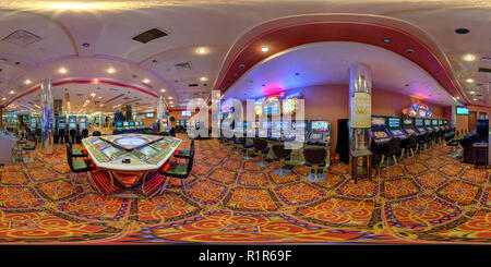 MINSK, BELARUS - JANUARY 31, 2013: Full 360 panorama in equirectangular spherical projection in interier luxury red casino Princess - Stock Photo