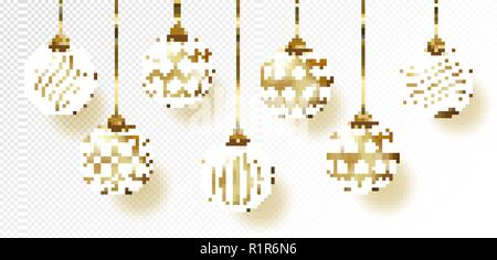 Golden realistic vector Christmas balls set. - Stock Photo