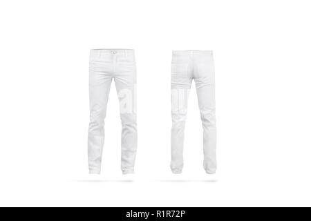 2812abf53428 ... Blank white mens pants mock up, isolated, front and back side view.  Empty