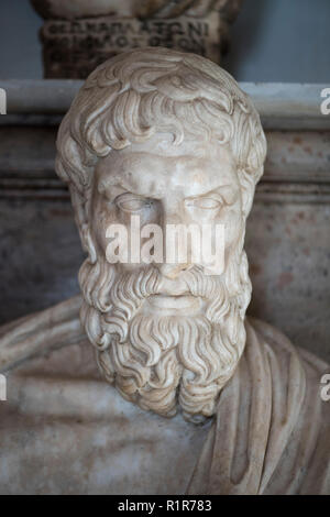 Rome. Italy. Portrait bust of Epicurus (341–270 BC) in the Hall of the Philosophers, Capitoline Museums. Musei Capitolini.  Marble Roman copy of a Gre - Stock Photo