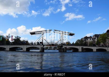 Magere Brug, Skinny Bridge, Amstel, Amsterdam, Holland, Netherlands - Stock Photo
