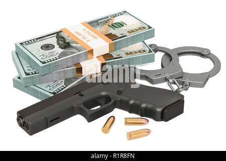 Handcuffs, gun and dollar packs. Crime concept. 3D rendering isolated on white background - Stock Photo