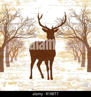 Vintage deer drawign with trees. Hand-drawn vector vintage illustration. - Stock Photo