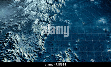 Satellite view of land, war operations, sci-fi, night vision. Drone flying over an area. Military operation. Undercover operation. Mountain reliefs - Stock Photo