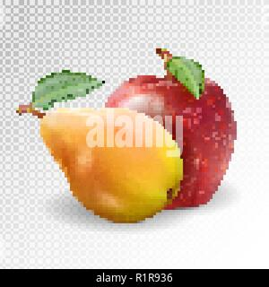 Ripe Apple and pear on transparent background, realistic vector, 3d illustration - Stock Photo