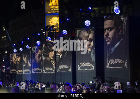 London, UK. 13th Nov, 2018. UK Premiere of the 'Fantastic Beasts: The Crimes Of Grindelwald' at the Cineworld Leicester Square in London. Credit: Gary Mitchell/SOPA Images/ZUMA Wire/Alamy Live News - Stock Photo