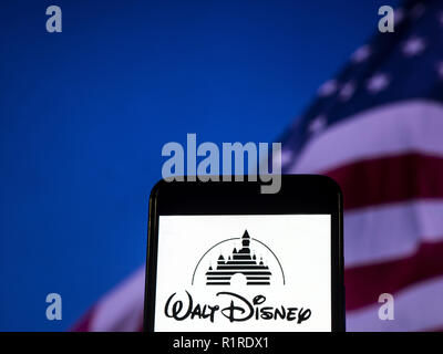 The Walt Disney Company Logo Seen Displayed On A Smart Phone Stock