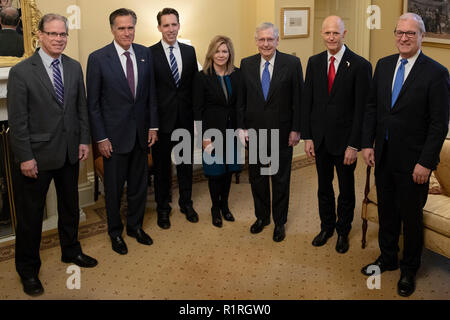 From left to Right: United States Senators-elect Mike Braun (Republican of Indiana), Mitt Romney (Republican of Utah), Josh Hawley (Republican of Missouri), Marsha Blackburn (Republican of Tennessee), Rick Scott, Senate Candidate of Florida, and Kevin Cramer (Republican of North Dakota), pose for a photo with US Senate Majority Leader Mitch McConnell (Republican of Kentucky) at the US Capitol in Washington, DC on November 14, 2018. Credit: Alex Edelman/CNP | usage worldwide - Stock Photo