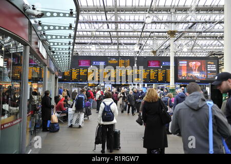 Edinburgh, UK. 14th Nov, 2018. Destination - who knows? A rally at Waverley station ahead of a Holyrood vote calling for the ScotRail break clause to be exercised, Scottish Labour leader Richard Leonard and Transport spokesperson Colin Smyth were in attendance . Credit: Colin Fisher/Alamy Live News - Stock Photo