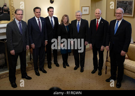 From left to Right: United States Senators-elect Mike Braun (Republican of Indiana), Mitt Romney (Republican of Utah), Josh Hawley (Republican of Missouri), Marsha Blackburn (Republican of Tennessee), Rick Scott, Senate Candidate of Florida, and Kevin Cramer (Republican of North Dakota), pose for a photo with US Senate Majority Leader Mitch McConnell (Republican of Kentucky) at the US Capitol in Washington, DC on November 14, 2018. Credit: Alex Edelman/CNP /MediaPunch - Stock Photo