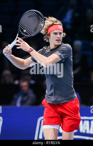 London, UK. 14th November, 2018. Alexander Zverev of Germany during the men's singles match of the 2018 Nitto ATP Finals against Novak Djokovic of Serbia at the O2 Arena in London, England on November 14, 2018. Credit: AFLO/Alamy Live News - Stock Photo