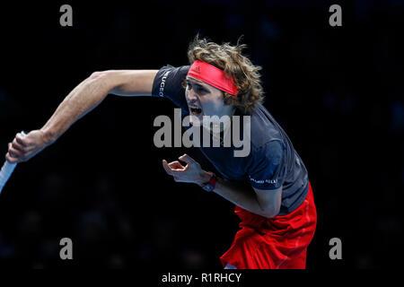 London, UK. 14th November, 2018. 14th November 2018, O2 Arena, London, England; Nitto ATP Tennis Finals; Alexander Zverev (GER) serves to Novak Djokovic (SRB) Credit: Action Plus Sports Images/Alamy Live News - Stock Photo
