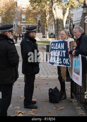 London, UK. 14th November 2018. Some of the Pro-Brexit demonstrators in front of 10 Downing Street, London, asking for a Clean Break Brexit on colourful boards and drawings. They feel betrayed by the UK Prime Minister Theresa May and the Government. Credit: Joe Kuis / Alamy Live News - Stock Photo