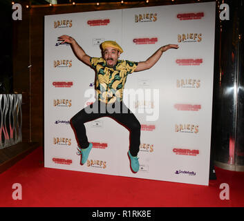 London, UK. 14th Nov, 2018. Mr Banana attends Briefs: Close Encounters - press night an All-male 'Boylesque' group show off their circus skills, drag acts and raucous comedy routines at The Spiegeltent Leicester Square on 14 November 2018, London, UK. Credit: Picture Capital/Alamy Live News - Stock Photo