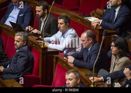 Paris, Ile de France, France. 14th Nov, 2018. Member of french Assembly Francois Ruffin seen attending a session of questions to the government at the National Assembly november 14th 2018 Credit: Thierry Le Fouille/SOPA Images/ZUMA Wire/Alamy Live News - Stock Photo