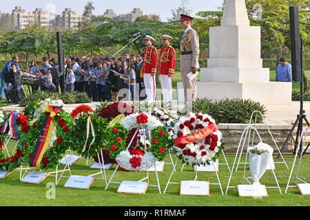British Defense Attache Colonel Edward Sandry during a speech at the beginning of the commemoration ceremony at the Commonwealth Cemetery in Heliopolis on the occasion of the centenary of the ceasefire on November 11, 1918, taken on November 11, 1818. This historic event was commemorated in Cairo with wreath-laying ceremonies and solemn ceremonies of former war participants. It was preceded in the morning by the joint German-French kick-off event at the German Protestant High School in Cairo, followed by a wreath-laying ceremony at the German and French cemeteries in Cairo, followed by a recep - Stock Photo