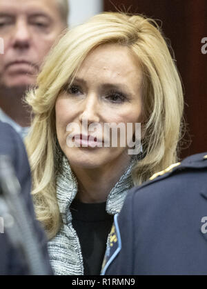 Washington, District of Columbia, USA. 14th Nov, 2018. Pastor Paula White looks on as United States President Donald J. Trump announces his support of H. R. 5682, the ''First Step Act'' in the Roosevelt Room of the White House in Washington, DC on Wednesday, November 14, 2018. According to the website congress.gov, this bill is titled ''the Formerly Incarcerated Reenter Society Transformed Safely Transitioning Every Person Act or the FIRST STEP Act.'' It enjoys bipartisan support Credit: Ron Sachs/CNP/ZUMA Wire/Alamy Live News - Stock Photo