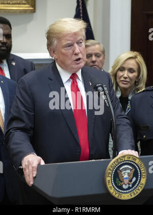 Washington, District of Columbia, USA. 14th Nov, 2018. United States President Donald J. Trump announces his support of H. R. 5682, the ''First Step Act'' in the Roosevelt Room of the White House in Washington, DC on Wednesday, November 14, 2018. According to the website congress.gov, this bill is titled ''the Formerly Incarcerated Reenter Society Transformed Safely Transitioning Every Person Act or the FIRST STEP Act.'' It enjoys bipartisan support Credit: Ron Sachs/CNP/ZUMA Wire/Alamy Live News - Stock Photo