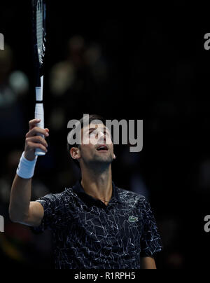 London, UK. 14th Nov, 2018. Novak Djokovic of Serbia celebrates after the singles match against Alexander Zverev of Germany during Day 4 of the 2018 ATP World Tour Finals at the O2 Arena in London, Britain on Nov. 14, 2018. Djokovic won 2-0. Credit: Han Yan/Xinhua/Alamy Live News - Stock Photo