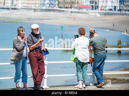 Aberystwyth, Ceredigion, West Wales Saturday 18th June 2016 UK Weather:The return of the warm sunny weather brings everybody back out to enjoy the pro - Stock Photo
