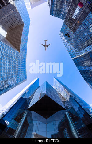 Flying above the Societe Generale tower on the Valmy courtyard in the La Défense financial district next to Paris - Stock Photo