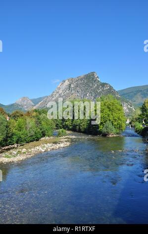 River Ariege and surrounding hills, Tarascon-sur-Ariege, Ariege, Occitanie, France - Stock Photo