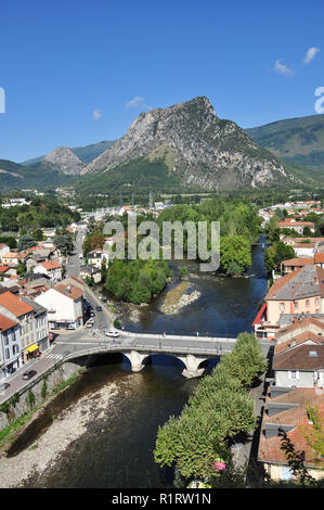Overview of tiver and town, Tarascon-sur-Ariege, Ariege, Occitanie, France - Stock Photo