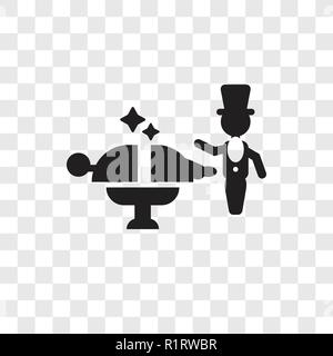 Magician man vector icon isolated on transparent background, Magician man transparency logo concept - Stock Photo