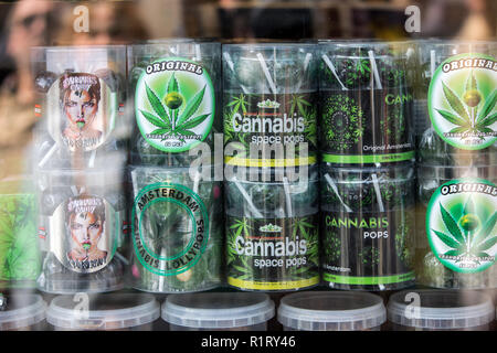 Amsterdam, Netherlands - April 20, 2017: A selection of cannabis cookies in a shop window in Amsterdam, Netherlands - Stock Photo