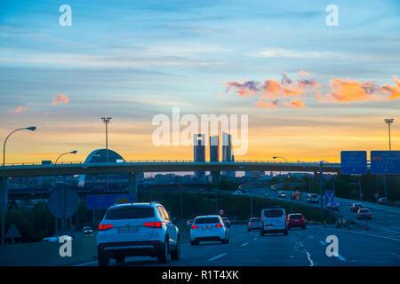 A-1 motorway at twilight. Madrid, Spain. - Stock Photo