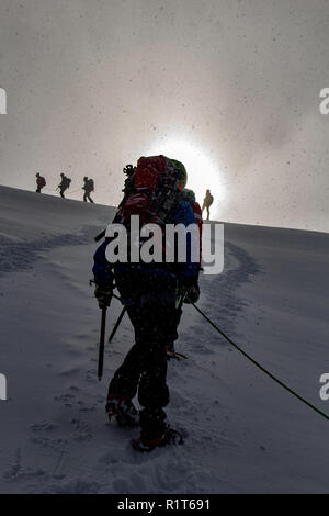 Mountaineer in sunrise on a snowy ascent on a alpine tour called Spaghetti Round in the European Alps, Monte Rosa Massif, Italy - Stock Photo