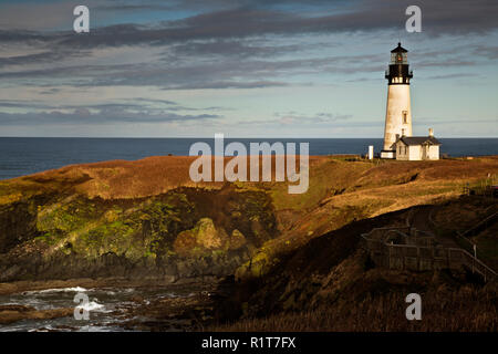 OR02385-00...OREGON - Yaquina Head Lighthouse in the Yaquina Head Outstanding Natural Area. - Stock Photo