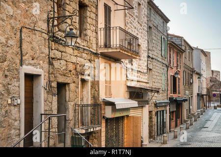 Rue de la Citadelle, old town hilltop section of Porto-Vecchio, Freto microregion, Corse-du-Sud, Corsica, France - Stock Photo