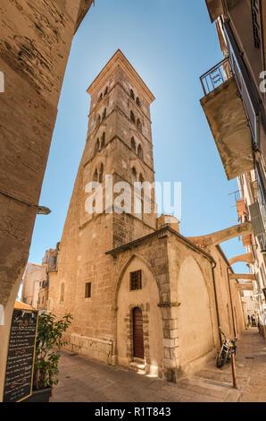 Bell tower at Eglise Sainte-Marie-Majeure, medieval main church at Ville Haute (Upper Town) of Bonifacio, Corse-du-Sud, Corsica, France - Stock Photo